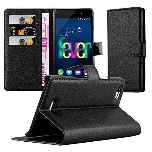 Cadorabo Hülle für WIKO Fever 4G - Hülle in Phantom SCHWARZ – Handyhülle mit Kartenfach und Standfunktion - Case Cover Schutzhülle Etui Tasche Book Klapp Style