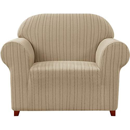 Subrtex - Funda para sillón elástico jacquard a rayas, funda de sofá de un plazo, antiarañazos, para gatos, perros, sofá protector lavable (1 plaza, caqui)