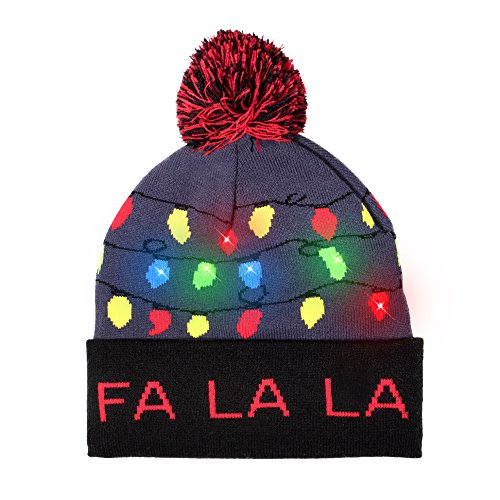 Windy City Novelties LED Light-up Knitted Ugly Sweater Holiday Xmas Christmas Beanie - 3 Flashing Modes (FA La La Beanie)