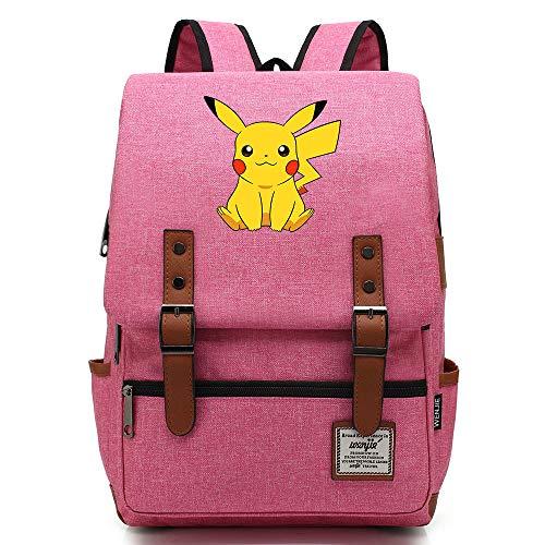 Mochila Anime Pikachu, Bolsa de Viaje para Adolescentes al Aire Libre, Mochila universitaria, se Adapta a Tableta portátil, Bolsa de Fin de Semana de 14 Pulgadas. Color-21.