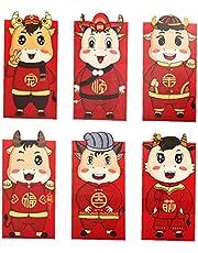 Odoukey Czerwona koperta Nowy Rok szczęśliwy pieniądze koperta woł rok 2021 chiński Hong Bao na wiosenny festiwal 6 szt