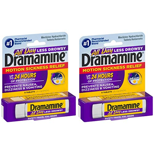 Dramamine All Day Less Drowsy Motion Sickness Relief Tablets | 8 Tables per Vial | 25 MG Each | 2-Pack