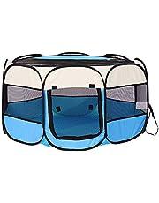 XianghuangTechnology Tela suave, portátil, plegable, para mascotas, perros, gatos, cachorros, para uso en interiores y exteriores, jaula de perrera de mascotas de 40 x 23 pulgadas (azul claro)
