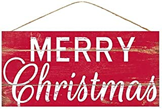 Red Merry Christmas Wooden Sign - 12.5