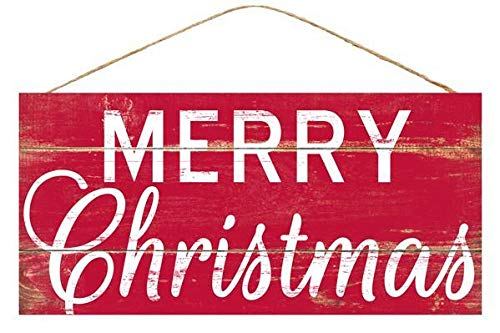 Red Merry Christmas Wooden Sign - 12.5' x 6', Red and White, Vintage Christmas Home Decor, Kitchen, Yard, Front Door Decoration, Patio, Classroom, Office, Daycare, Christmas Tree Lot