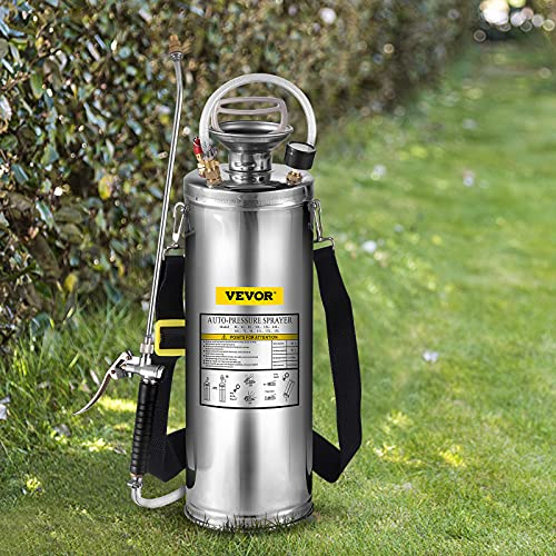 Happybuy 3Gal Stainless Steel Sprayer, Set with 20'' Wand& Handle& 3FT Reinforced Hose, Hand Pump Sprayer with Pressure Gauge&Safety Valve, Adjustable Nozzle Suitable for Gardening and Sanitizing