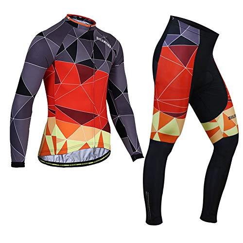Ensemble de vêtements de vélo à Manches Longues de vélo d'hiver Hommes - Vélo de Route VTT MTB Equitation Porter Triangle de Flamme (Size : XXX-Large)