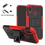 LiuShan Huawei P20 Lite Funda, Heavy Duty Silicona Híbrida Rugged Armor Soporte Cáscara de Cubierta Protectora de Doble Capa Caso para Huawei P20 Lite Smartphone(con 4 en 1 Regalo empaquetado),Rojo