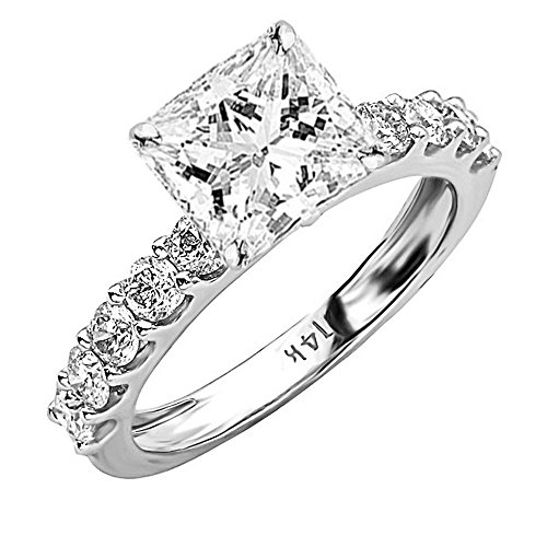 2 Carat 14K White Gold Classic Side Stone Prong Set GIA Certified Princess Cut Diamond Engagement Ring w/ a 1 Ct J-K Color SI1-SI2 Clarity Center