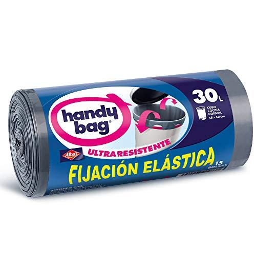 Handy Bag Bolsas de basura con fijación elástica, 30 l,ultra resistentes, antigoteo, 15 unidades