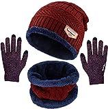 Conjunto de Bufanda y Guantes Unisex para Gorro de Punto de esquí cálido Gorro de Bufanda Circular y Guantes con Pantalla táctil para Deportes de Invierno al Aire Libre-Rojo_22