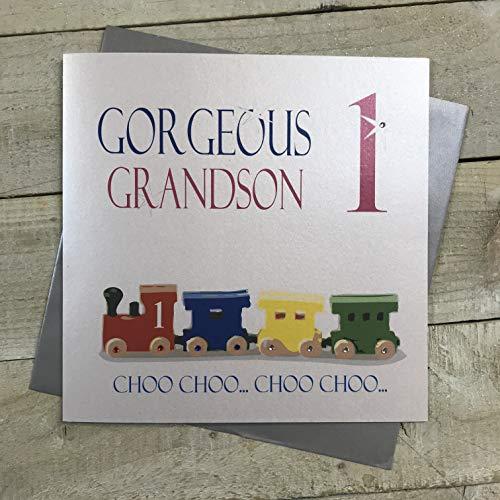 Witte katoenen kaarten prachtige kleinzoon 1 Choo.Choo Choo, handgemaakte grote 1e verjaardag kaart (trein)