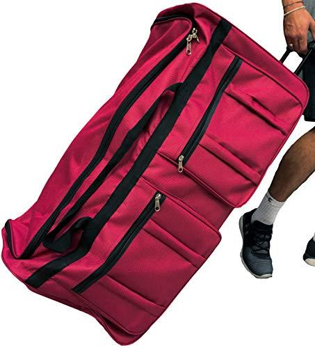 Gothamite 36-inch Rolling Duffle Bag with Wheels, Luggage Bag, Hockey Bag, XL Duffle Bag With Rollers, Heavy Duty (Fuchsia)