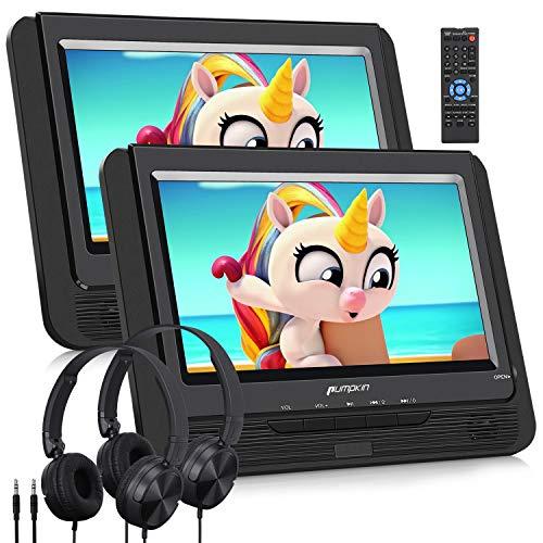 PUMPKIN 9' DVD Reproductor para Coche con 2 Auriculares y 2 Pantallas, DVD Portátil para Reposcabezas de Coche con Batería Regable soporta Tarjeta SD/USB/DVD/CD Región Libre