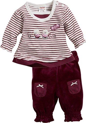 Schnizler Schnizler Baby-Mädchen Anzug-Set Nicki 2-teilig Ringel Top Secret Jogginganzug, Rot (Bordeaux 9), 62