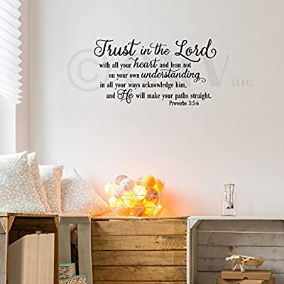 Trust in the Lord With All Your Heart..Proverbs 3:5-6 Vinyl Lettering Wall Decal Sticker