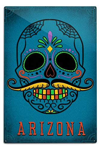 Lantern Press Arizona - Sugar Skull with Mustache - Teal 89158 (6x9 Aluminum Wall Sign, Wall Decor Ready to Hang)