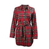 Wodery Donne Casual Plaid manica lunga T Shirt Dress partito del vestito Rosso XL