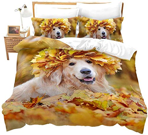 Evvaceo Kids Duvet Cover Set Single 3D Printed Creative Golden Retriever Animal Maple Leaf Plant 200 Cm X 200 Cm Bedding Duvet Cover Set With Zipper Closure For Kids Boys Teen Soft Microf(Double)