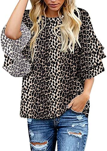 luvamia Women s Casual 3 4 Tiered Bell Sleeve Crewneck Loose Tops Blouses Shirt C Leopard Printed product image