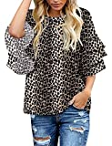 luvamia Women's Casual 3/4 Tiered Bell Sleeve Crewneck Loose Tops Blouses Shirt C Leopard Printed Size M