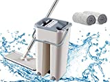 Curated Cart ABS Plastic Smart Sleek Flat MOP with 2 Refills for House/Office/Home/for Floor Cleaning with Bucket (Grey Brown)
