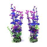 ZGQA-GQA Planta de Acuario 2pcs púrpura plástico pecera submarino decoración del ornamento