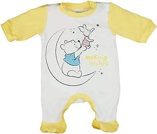 Babybogi Disney Winnie Pooh Baby Strampler Größe 56 62 68 für Mädchen und Junge in Gelb Weiss Babys Schlafanzug langarm mit Füßchen