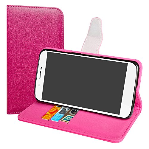 LiuShan Archos 55 Helium / 55 Helium Ultra Hülle, Brieftasche Handyhülle Schutzhülle PU Leder mit Kartenfächer & Standfunktion für Archos 55 Helium / 55 Helium Ultra Smartphone,Pink