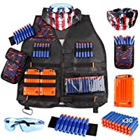 Uwantme Kids Tactical Vest Kit for Nerf Guns N-Strike Elite Series with Refill Darts Dart Pouch