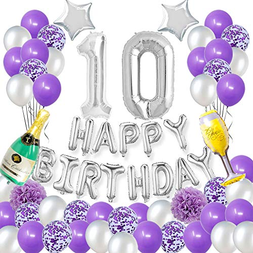 Happy 10TH Birthday Party Decorations Pack-Purple Silver Theme Happy Birthday Banner Foil Number 10 12inch Purple Confetti Balloons Purple and Silver Latex Balloons Purple Pertlfie