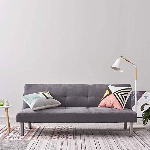 3 posti divano letto, divano a panca in pelle scamosciata divano in tessuto,Grey
