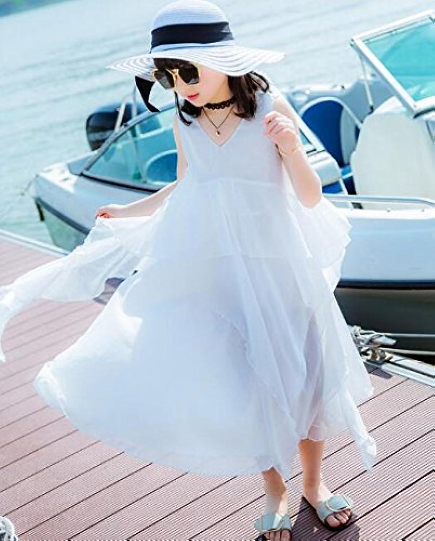 LuckyYumi 子供ドレス 女の子 ピアノ 発表会 パーディー 演奏会 フォーマル 入園式 結婚式 ワンピース (120cm, ホワイト)