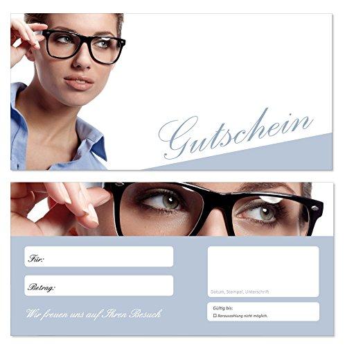 100 Stück Geschenkgutscheine (Brille-691) Gutscheine Gutscheinkarten für Einzelhandel im Bereich Optiker Brillen Kontaktlinsen Augenoptiker