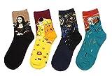 LifeWheel 4 Paar Damen Maedchen Stricken Mehrfarbig Witzige Baumwolle Bunt Muster Socken, Mehrfarbig, Ones size 35/40