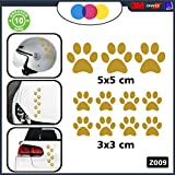 10 zampette adesive Adesivi per Auto Moto CASCHI - - 3 Adesivi 5X5 Centimetri - 7 Adesivi 3X3 Centimetri - Auto Macchina - novità!! Auto Moto Camper, Stickers, Decal Z-001-7 (Oro)