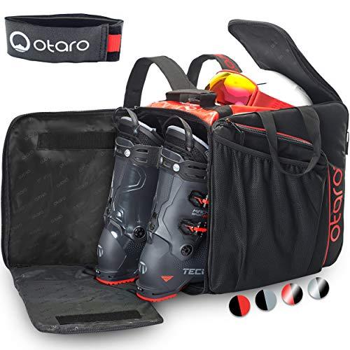 Otaro ® Premium Bolsa para Botas de esquí con Compartimento para Casco (Pro: Rojo/Negro)