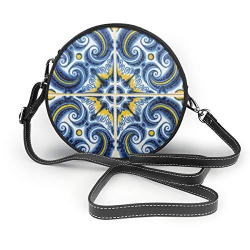 Wrution Schöne portugiesische Fliesen, individualisiert, runder Reißverschluss, Schultertasche, weiches Leder, Kreise Geldbörse für Damen
