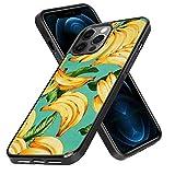UZEUZA Funda para teléfono móvil de neumáticos negros para iPhone 12 Pro Max, resistente a los golpes, con plátano