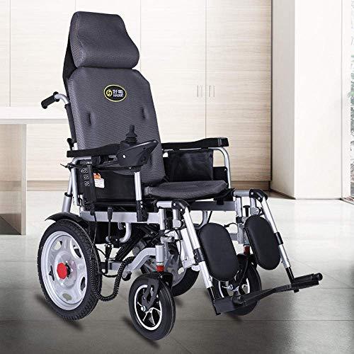 TYT Silla de ruedas eléctrica para personas mayores con discapacidad Scooter ligero plegable para personas mayores tipo todoterreno,Sección semi-reclinada [Control remoto atrás]