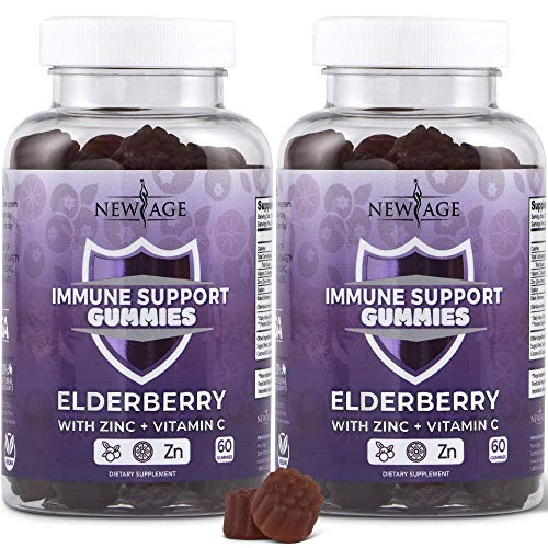 New Age Immune System Support Gummies 2-Pack - Sambucus Black Elderberry Extract - All Natural Immunity Gummies - 120 Count by New Age
