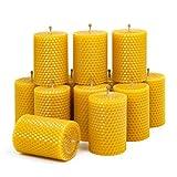 Kerzen aus Bienenwachs, 8,5cm x 6 cm, honiggelb, handgerollt, 3 Stück,