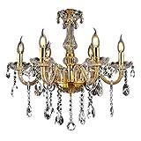 Sailun® - Lampadario a sospensione in stile classico, con cristalli, in ottone anticato, 6 luci con attacco E14 6 Lichter