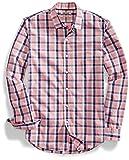 [Goodthreads] スリムフィット 長袖 チェック柄 ポプリンシャツ メンズ ピンク/ネイビー L