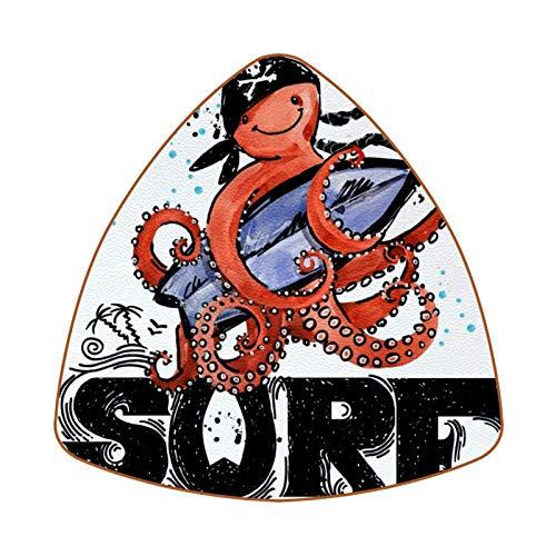 Cute Octopus Cartoon Fish Surf Vintage Sea Animal Juego de 6 Posavasos para Bebidas para el hogar, Taza, Botella, Taza, café, Cerveza