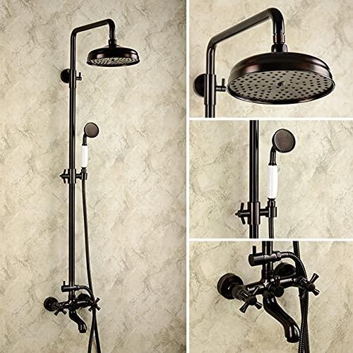Hou Hexin Trade Bathroom Retro Brass Shower Set Round Shower Head for Rain Showers with Hand Shower Rod with Bathtub Spout Antique Brass Wall Bracket