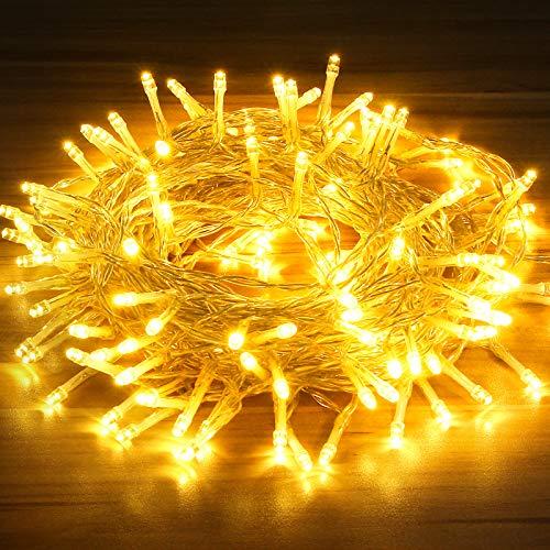 OMERIL LED Lichterkette, 15M 130LED Lichterkette batterie [Timer], 8 Modi Warmweiß lichterkette außen/innen, IP65 Wasserdicht Outdoor Lichterkette für Balkone, Gärten, Weihnachten, Partys, Hochzeiten