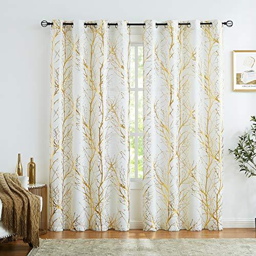 Fmfunctex Halbdurchsichtige Vorhänge mit goldfarbenem Metallic-Druck, weißer Baum-Vorhang für Wohnzimmer, Schlafzimmer, modernes Ast-Muster, Vorhänge für Fenster 132,1 cm B x 274,3 cm L, 2er-Set