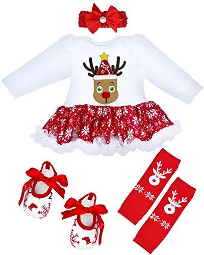 Camlinbo 4Pcs Baby Girl Christmas Tutu Dress Outfit Infant Newborn Long Sleeve Romper Headband Leg Warmer Shoes 0-14M (Elk Snowflake, 6-12 Months)