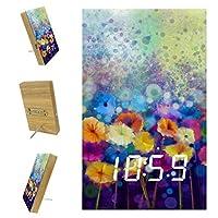 寝室用デジタル目覚まし時計キッチンオフィス3アラーム設定ラジオ木製卓上時計-水彩画抽象花